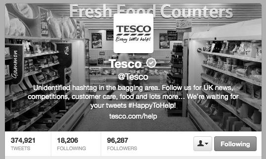 Tesco twitter profile