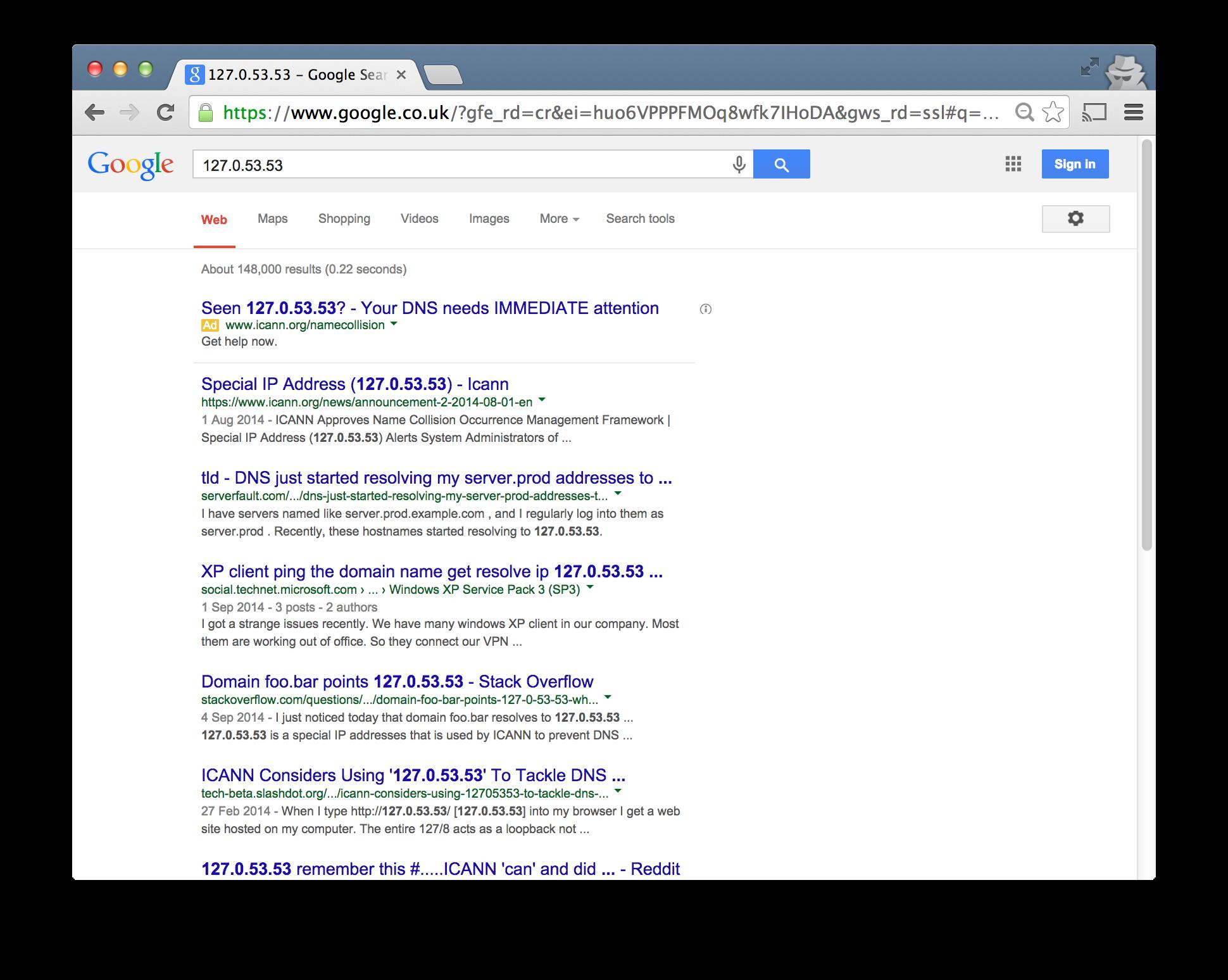 Google Search '127.0.53.53'